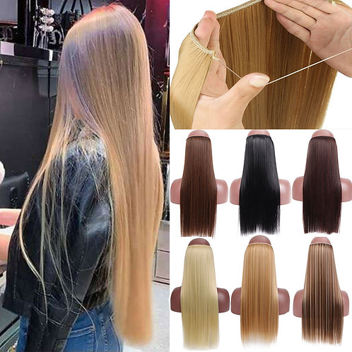 No Clips in Straight Hair Extensions Invisible Ombre
