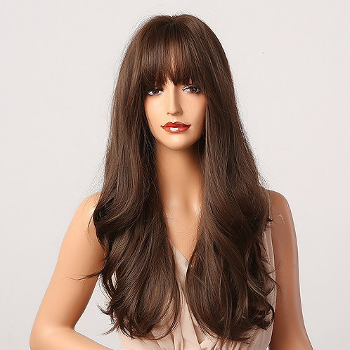 Long Wavy Dark Brown Synthetic Wigs With Bangs Heat Resistant