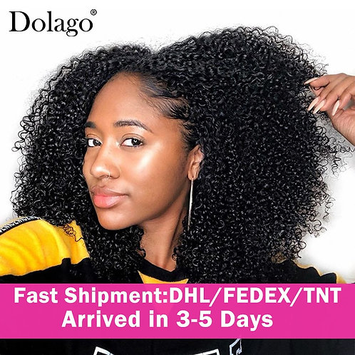 3B 3C Kinky Curly Clip in Human Hair Extensions Full Head