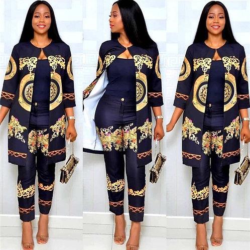 Elegant African Sets Print Trousers Tops Pants Suits Dashiki Dress