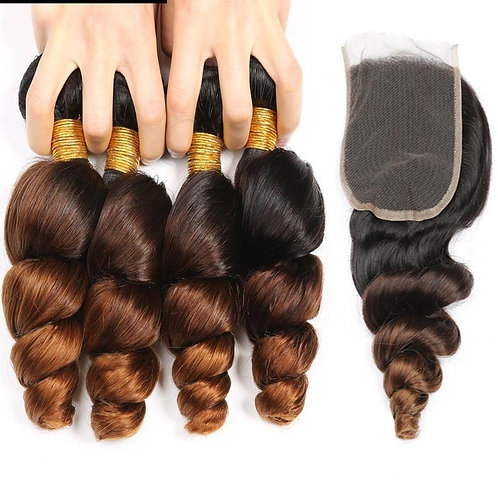 Ombre Peruvian Loose Wave Bundles With Closure 1b/4/30