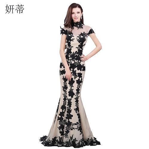 Elegant Black Short Sleeve Mermaid Evening Dress