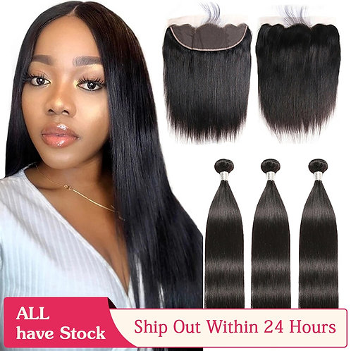6 Bundles With Closure Ear to Ear Lace Frontal