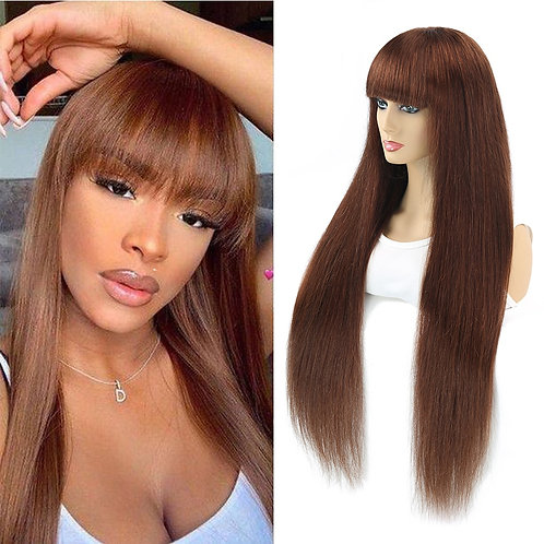 Brazilian Straight Ombre Human Hair Wigs With Bang Silk Brown Remy 30inch