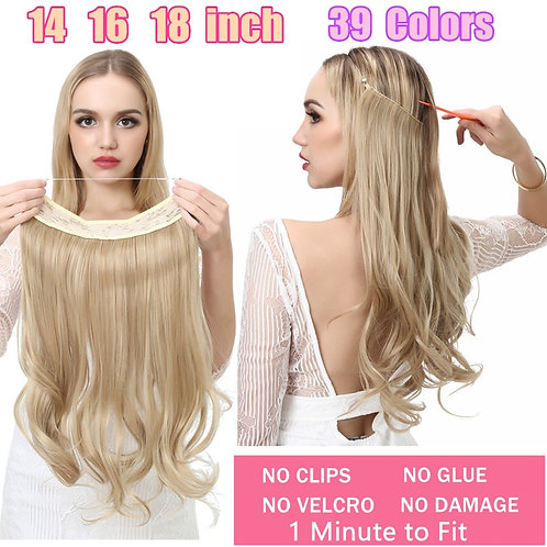 """12""""14"""" 16"""" 18""""  Hair Extensions No Clip in Ombre Blonde Black Pink Synthetic"""