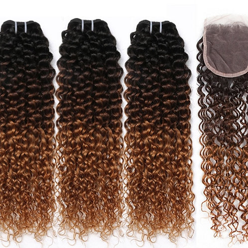 Ombre Mongolian Afro Kinky Curly Hair Bundles With Closure Human Hair Closure