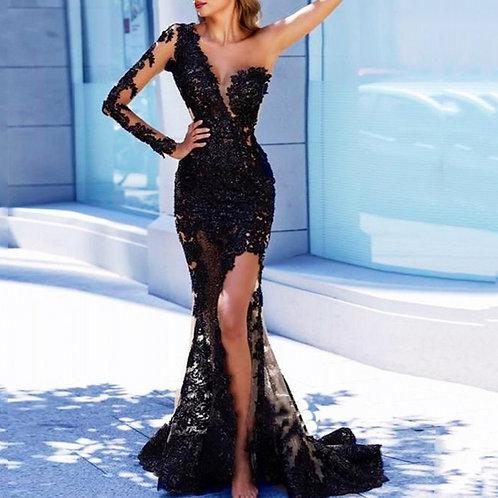 Sofuge Black Arabian Mermaid Long Evening Dresses
