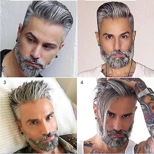 Grey Durable Men's Toupee Lace & PU Thin Skin Wig Black Brown