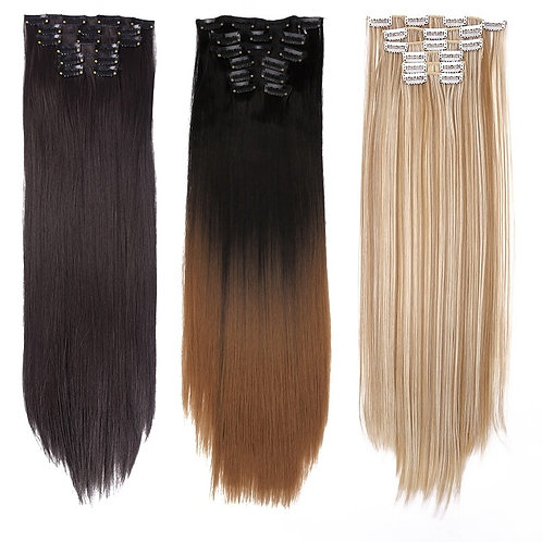 """6Pcs/Set 22"""" Hairpiece 140G Straight 16 Clips in False Styling Hair Synthetic"""