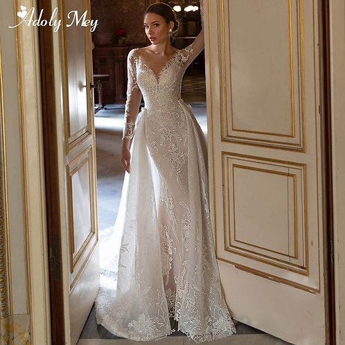Adoly Mey Gorgeous Appliques Detachable Train Lace Mermaid Wedding Dress