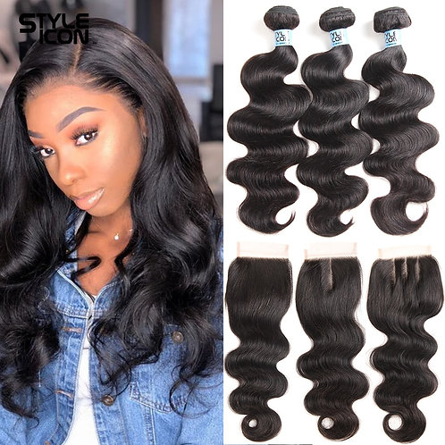 Body Wave Human Hair Bundles With Closure Lace Closure Remy