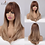 Thumbnail: Straight Wigs With Bangs Black to Brown Ombre Synthetic Wigs