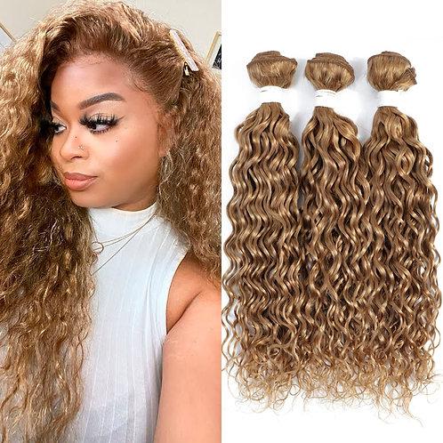 27# Honey Blonde Water Wave Human Hair Bundles