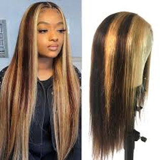 Highlight Wig Brown Colored Human Hair Wig