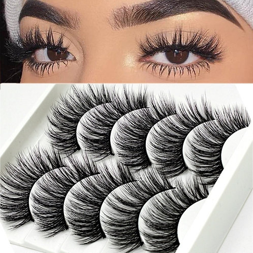 5 Pairs Handmade Eyelashes 3D Soft Mink Hair False Lashes