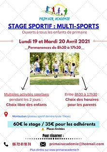 Affiche stage Multisports Pâques 2021.pn