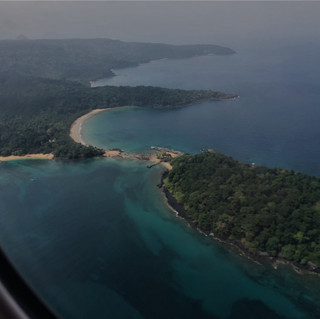 Flying in with view to the north coast of Principe