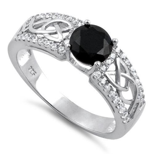 Trinity Sparkle Ring Black Onyx and Clear CZ's