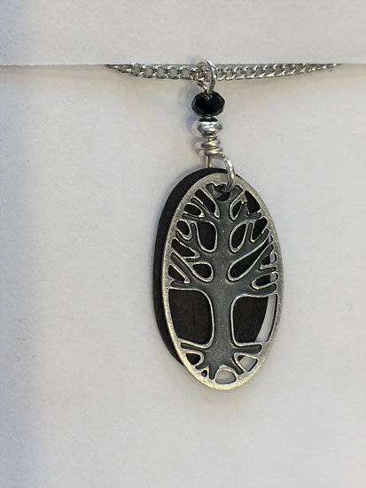 Tree with Black Background Necklace