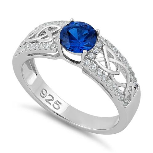 Trinity Sparkle Ring Sapphire and Clear CZ's