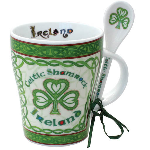 Celtic Shamrock Mug and Spoon
