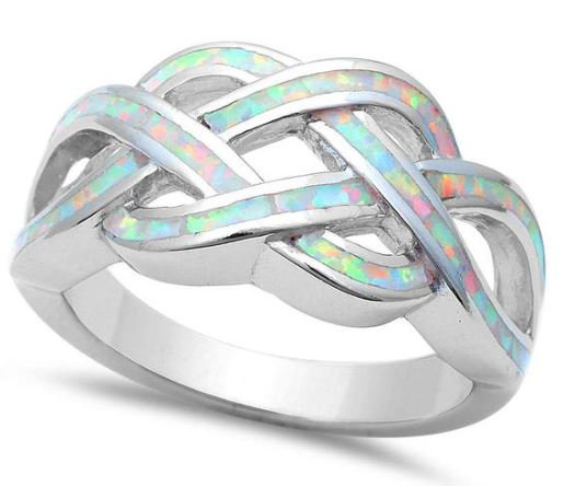 White Opal Infinity Knot Ring