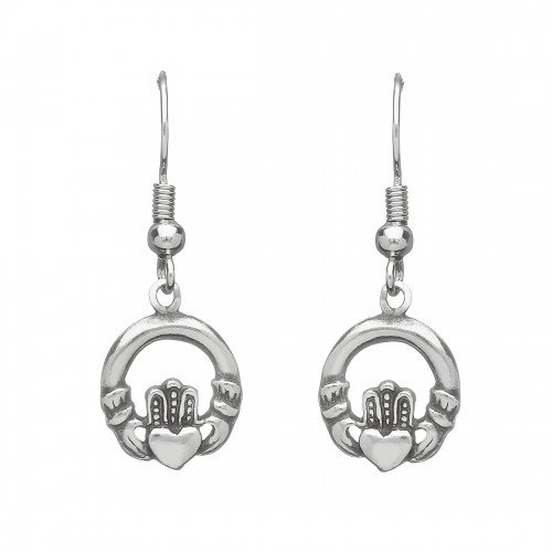 Pewter Claddagh Earrings