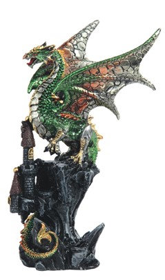 Green Upright Dragon on Castle