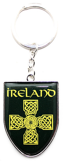 Ireland Black and Gold Cross Shield Keyring