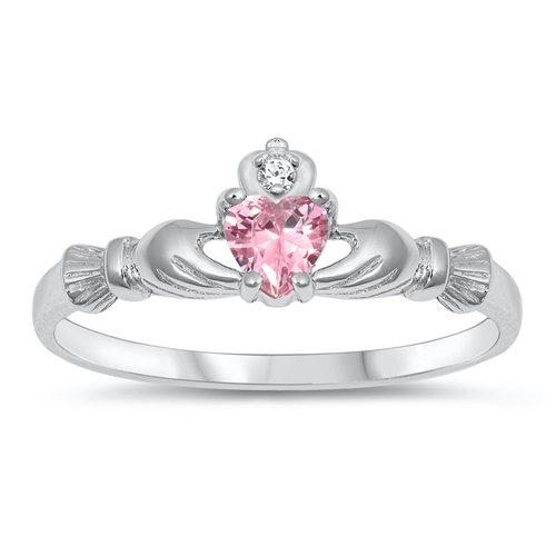 Claddagh Ring with Pink and Clear CZ