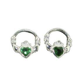 Claddagh Emerald Studs