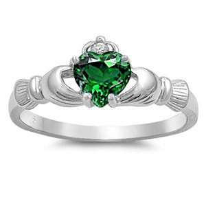 Claddagh Ring with Emerald Cubic Zirconia