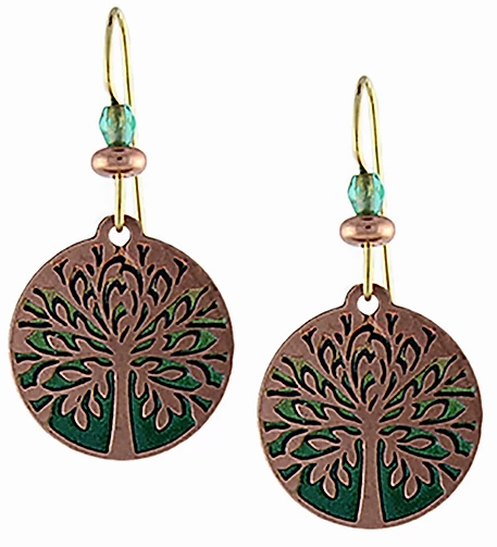 Green and Copper Tree of Life Earrings