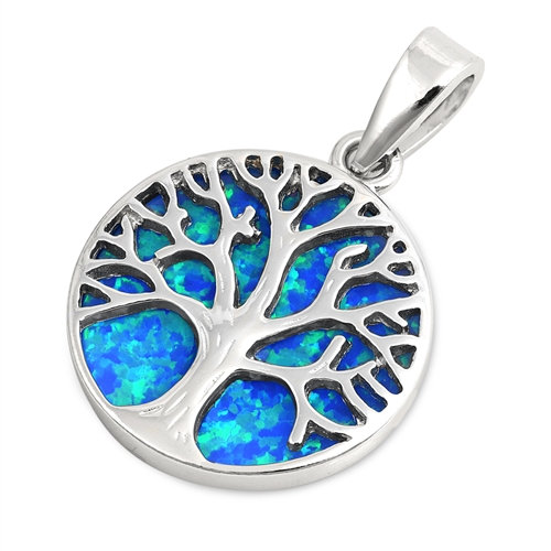 Tree of Life Pendant with Blue Opal