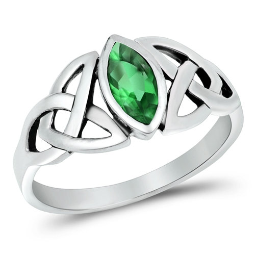 Trinity Knot Ring with Emerald Cubic Zirconia