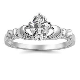 Claddagh Ring with Clear CZ