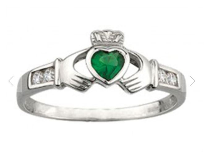 Green and White Claddagh Ring