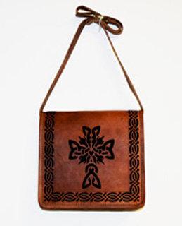 Leather Handbag with Celtic Cross