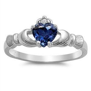 Claddagh Ring with Blue Sapphire Cubic Zirconia