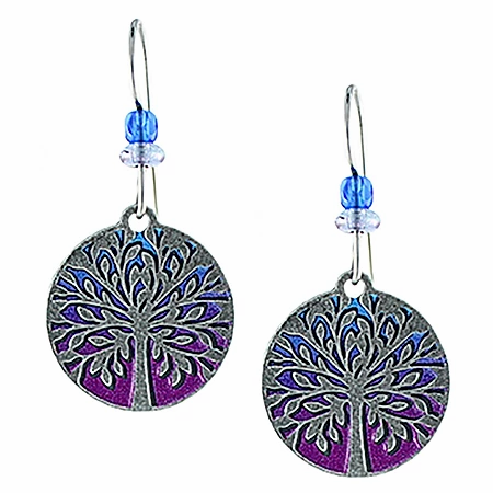 Blue and Magenta Tree of Life Earrings