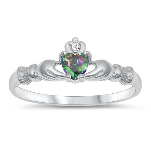 Claddagh Ring with Rainbow Topaz and Clear CZ