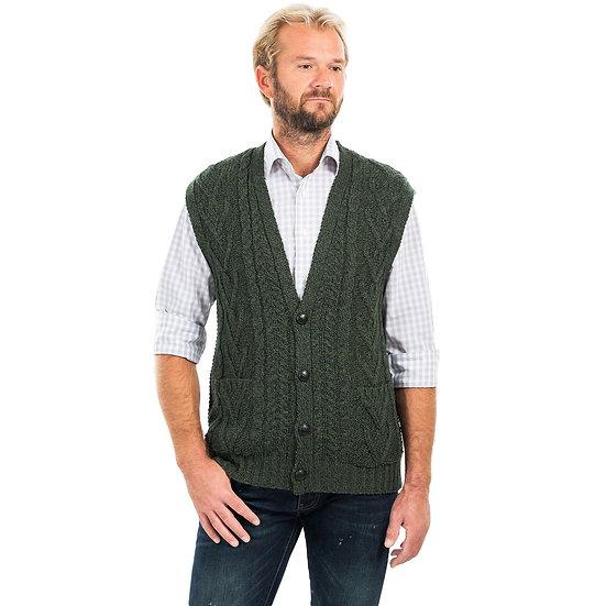 Mens Aran Sleeveless Cardigan Sweater