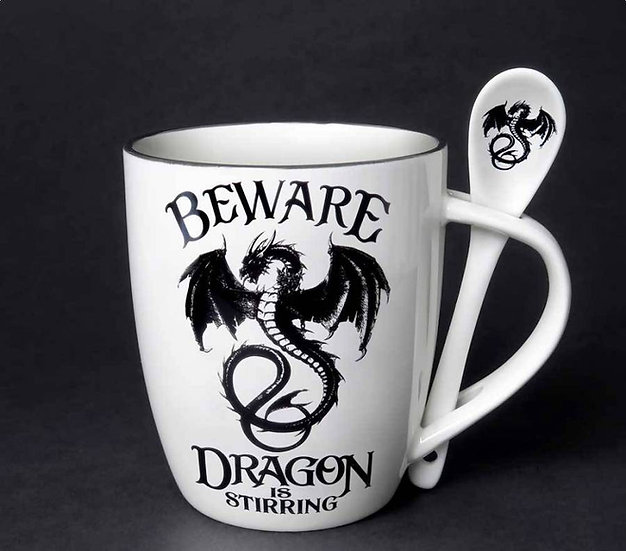 Beware of Dragons Stirring Mug and Spoon