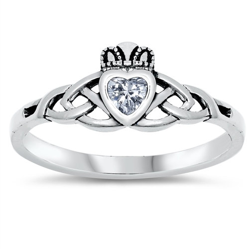 Claddagh Ring with Clear Cubic Zirconia Heart