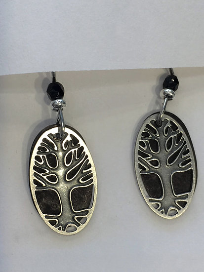 Tree with Black Background Earrings