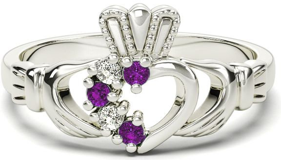 White Gold, Diamond, and Amethyst Claddagh