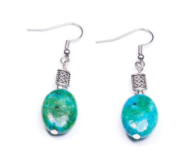 Celtic Knot Chrysocolla Earrings