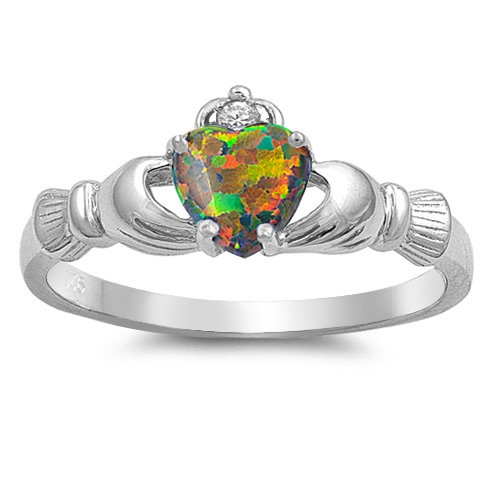 Claddagh Ring with Fire Opal