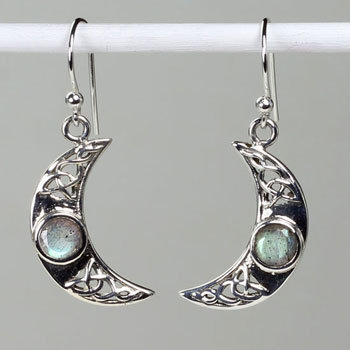 Labradorite Crescent Earrings