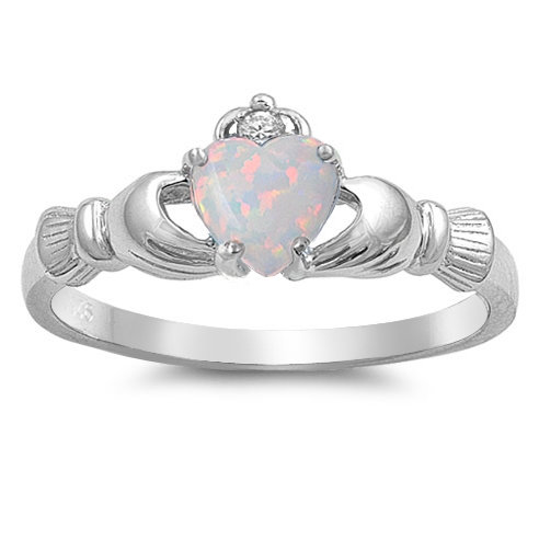 Claddagh Ring with White Opal